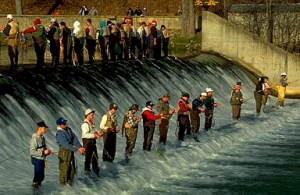 Opening day at the dam, Bennett Spring State Park, Missouri