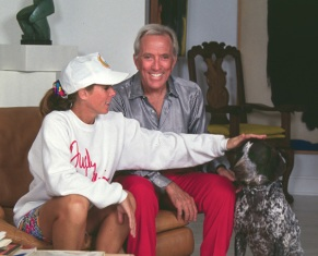 Andy and Debbie Williams share a moment with Sophie in the Moon River Theatre apartment/dressing room.