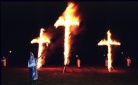 Ku Klux Klan stages a cross burning in western Greene County Missouri in the early 1990's. (Copyright John S. Stewart/LEFTeyeSTORIES.com)